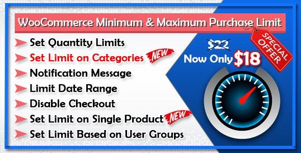 WooCommerce Minimum and Maximum Purchase Limit - CodeCanyon Item for Sale