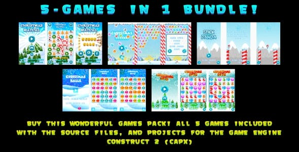 5-GAMES IN 1 BUNDLE! (Construct 3 | Construct 2 | Capx)