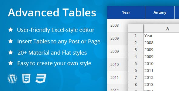 Advanced Tables - Excel-style table editor