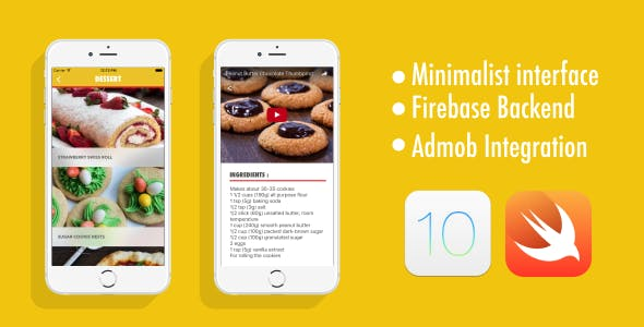 Recipe App - Swift 3 - iOS 10 - Firebase Backend - AdMob