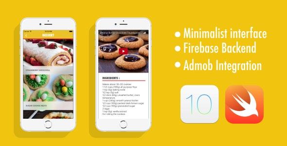 Recipe App - Swift 3 - iOS 10 - Firebase Backend - AdMob - CodeCanyon Item for Sale