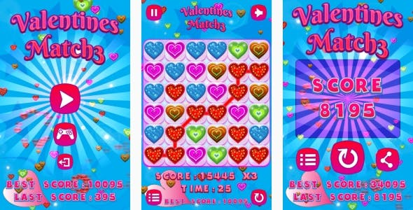 Valentines Match3 - HTML5 Game + Android + AdMob (Construct 3 | Construct 2 | Capx)