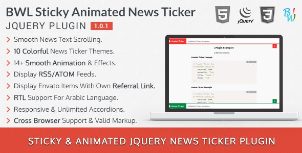 BWL Sticky Animated News Ticker jQuery Plugin - CodeCanyon Item for Sale