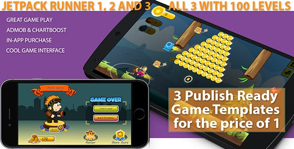 3 Jetpack Runner Buildbox Game Templates with 100 Levels - Admob, Chartboost, IAP, BB Files Included