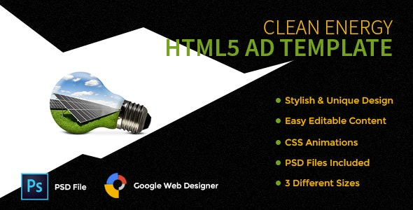 Clean Energy HTML5 AD Template - CodeCanyon Item for Sale