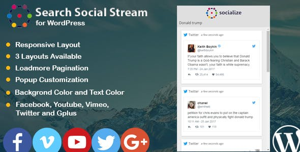 Search Social Stream for WordPress