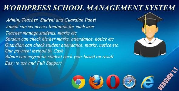Wordpress School Management System - CodeCanyon Item for Sale