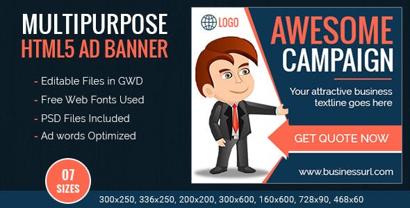 GWD | Multipurpose HTML5 Ad Banner Templates - 7 Sizes