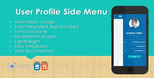 Ionic User Profile Side Menu Plugin with Full Application