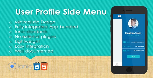 Ionic User Profile Side Menu Plugin with Full Application - CodeCanyon Item for Sale