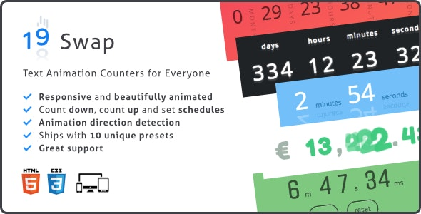 Swap Countdown, Responsive Text Animation Counter Plugin by pqina