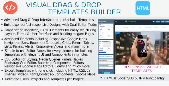 Visual Drag and Drop Bootstrap HTML Templates Creator