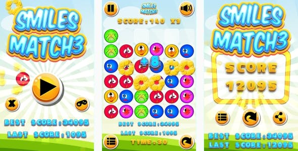 Smiles Match3 - HTML5 Game + Android + AdMob (Construct 3 | Construct 2 | Capx)