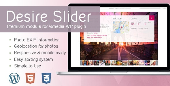 Desire Slider v1.6 | Gallery Module for Gmedia plugin - CodeCanyon Item for Sale