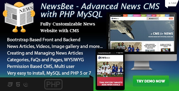 NewsBee - Fully Featured News CMS with bootstrasp - PHP / MySQL - CodeCanyon Item for Sale