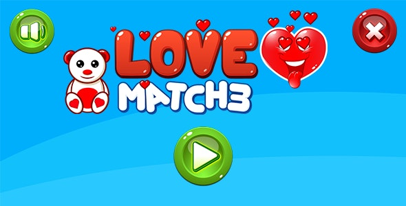 LOVE Match3 - HTML5 game. Construct 2 (.capx) + Mobile - CodeCanyon Item for Sale