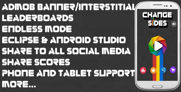 Change Sides- Android studio & Eclipse + Admob Ads + Endless + LeaderBoard + Share +Review+Addictive - CodeCanyon Item for Sale
