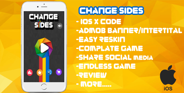 Change Sides  XCODE + Admob + Complete Game + Review + Share + Endless Game