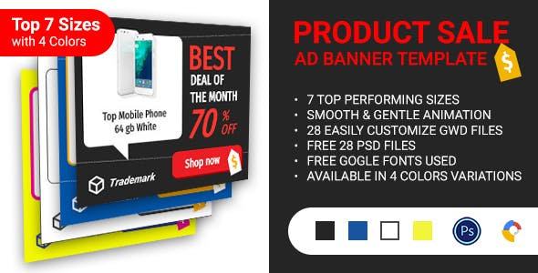 Product Sale HTML5 Banners 4 Color Variations