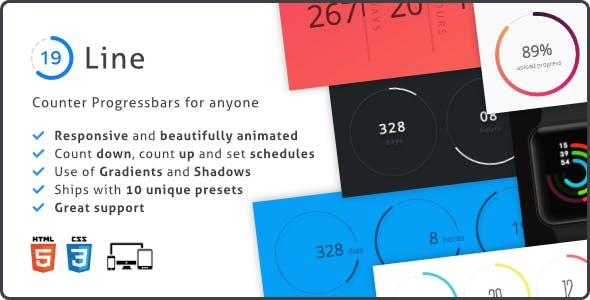 Line Progress Bar, Responsive Circular Countdown and Counter Plugin