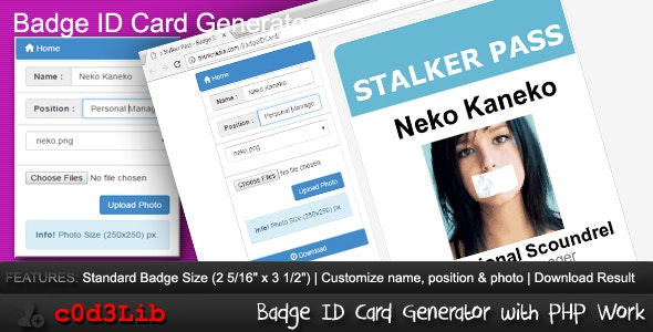 Badge ID Card Generator by nath4n | CodeCanyon