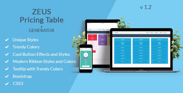 Zeus - Bootstrap Pricing Table with Generator - CodeCanyon Item for Sale