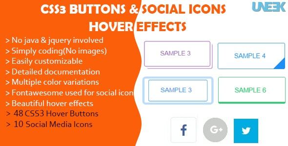 CSS3 Buttons Hover Effects and Social Media Icons by