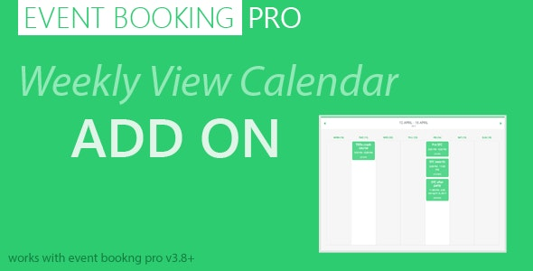 Event Booking Pro: Weekly View Calendar - CodeCanyon Item for Sale