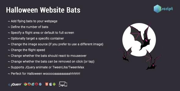 Halloween Website Bats by Escript | CodeCanyon