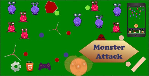 Monsters Attack - HTML5. Construct 2 Game (.Capx)