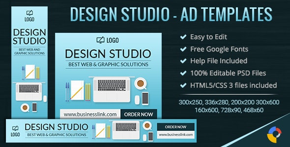GWD | Web & Graphic Design Studio Ad Banners - 7 Sizes - CodeCanyon Item for Sale