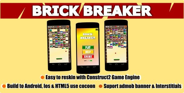 Brick Breaker Mobile Game Android/ Ios/ HTML5 + Admob