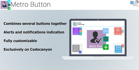 Metro Button with Interactive Notification Indication and Sub-Buttons - CodeCanyon Item for Sale