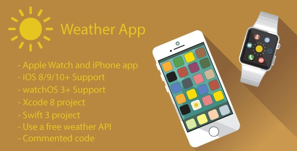 Weather App | Apple Watch and iPhone App (Swift) - CodeCanyon Item for Sale