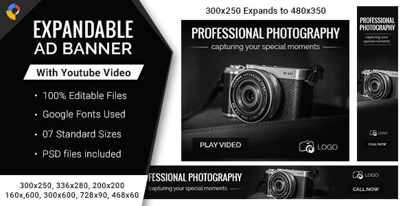 Photography | Expandable HTML5 Ad Banners - 7 Sizes - CodeCanyon Item for Sale