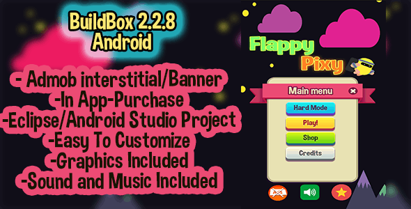 Flappy Pixy Buildbox 2.2.8 + Eclipse Android Studio Project Admob - CodeCanyon Item for Sale