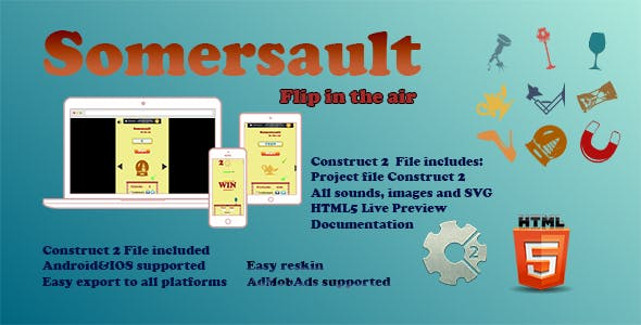 Somersault - Construct 2 | HTML5 Game (.Capx)