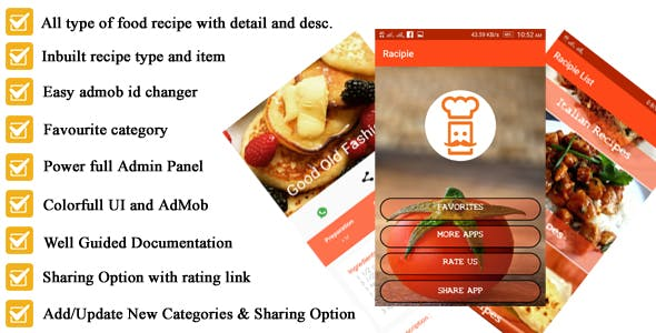 Android Recipe App for Cooking  full Code with PHP Admin Panel
