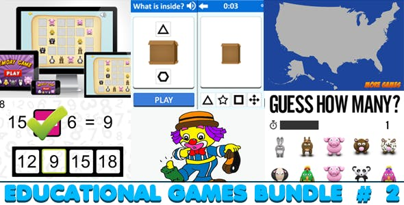 Educational Games Bundle #2 - 6 HTML5 Games (CAPX included)