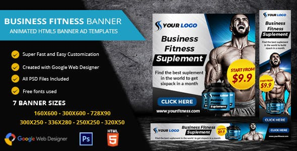 Fitness Ads Banner HTML5 - GWD