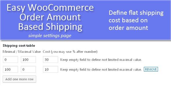 Easy WooCommerce Order Amount Based Shipping - CodeCanyon Item for Sale
