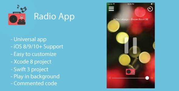 Radio App | Universal Radio App (Swift 3) Free Support