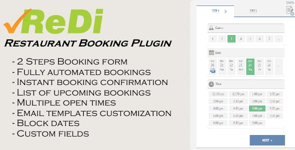 ReDi Restaurant Booking plugin for WordPress