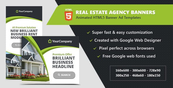 Real Estate Agency Banners - HTML5 Ad Templates
