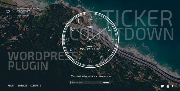 TICKER PLUGIN - Responsive Comingsoon Page with Clock