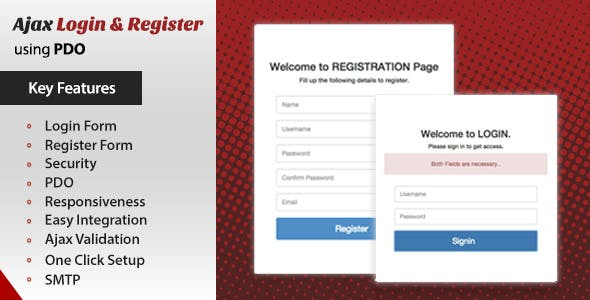 Ajax Login And Register using PHP and PDO