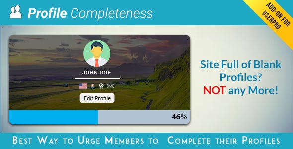 User profile Completeness Add-on for UserPro