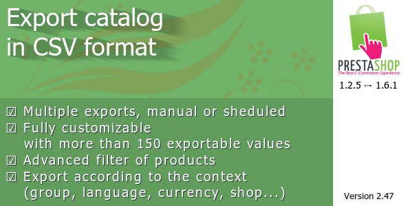Export catalog in CSV format