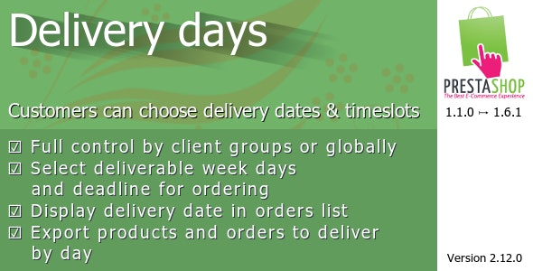 Delivery days for Prestashop - CodeCanyon Item for Sale