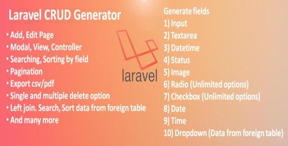 Laravel CRUD Generator - CodeCanyon Item for Sale
